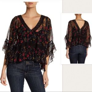 NWT Free People Floral Crochet Blouse Top